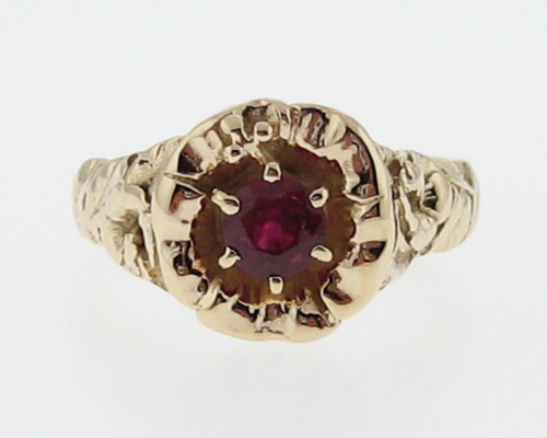 Vintage Estate Floral Motif Ruby Solid 14k Gold Ring
