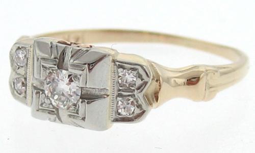 Vintage Estate Genuine Diamonds Solid 14k Gold Ring