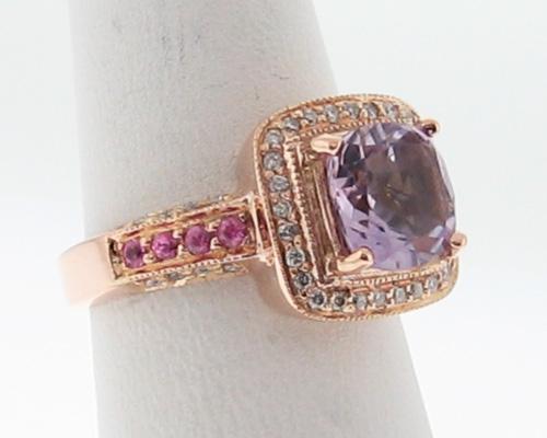 LeVian Estate Amethyst Pink Sapphires Diamonds 14k Rose Gold Ring Size