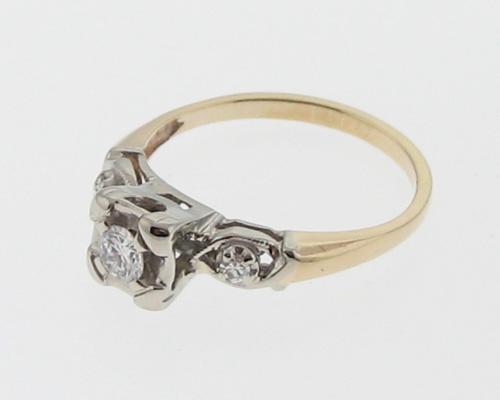 Estate Diamonds Solid 14k Two Tone Gold Wedding Ring