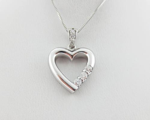 Genuine diamonds 14k white gold heart past present future pendant 18 shop categories aloadofball Gallery